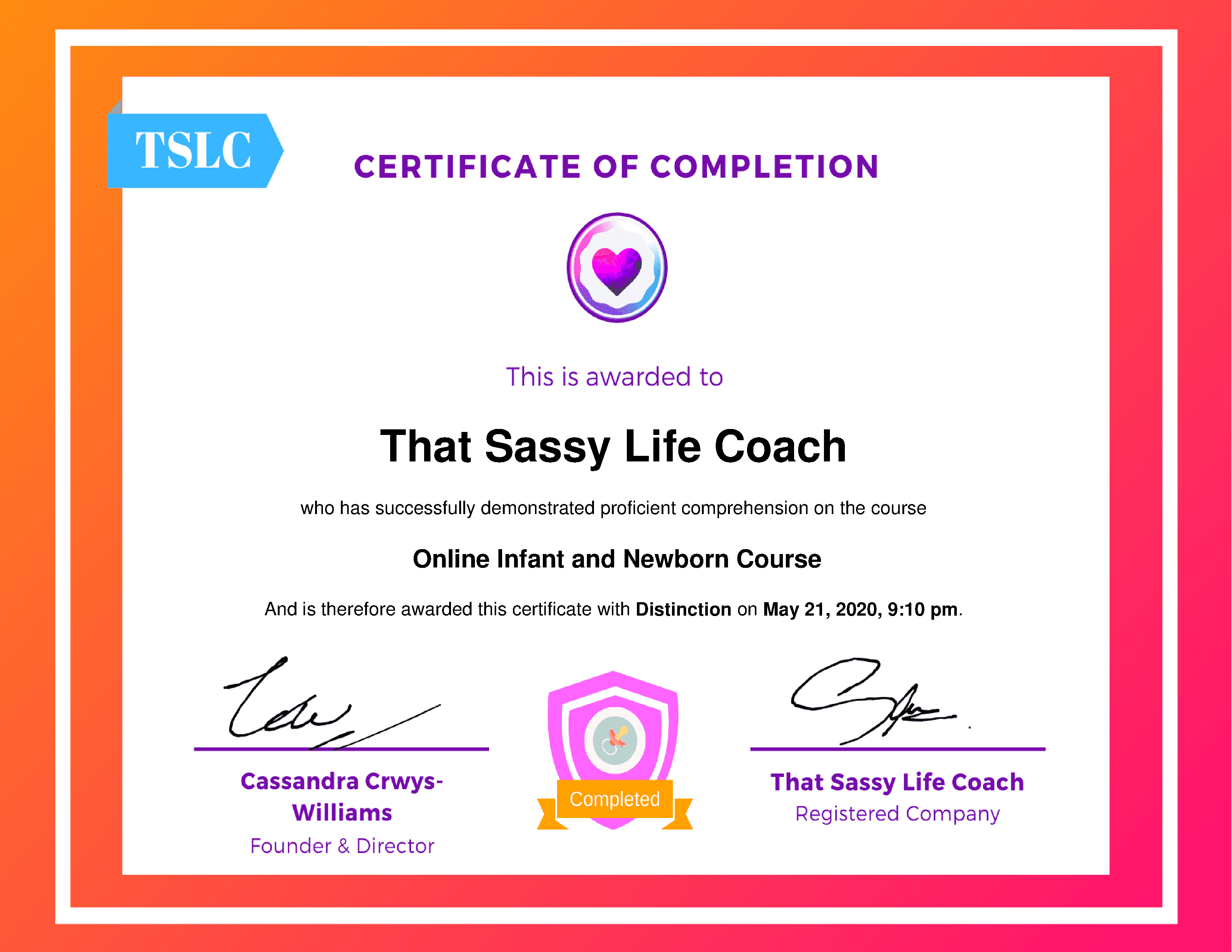 Online Infant and Newborn CourseThat Sassy Life Coach